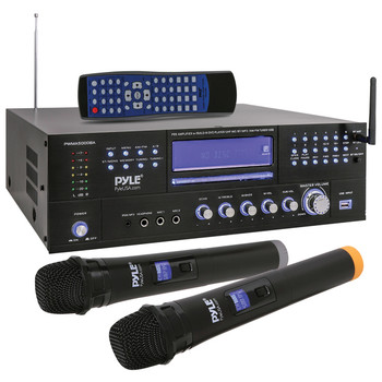 4-Channel 3,000-Watt Rack-Mountable Home Theater Preamplifier Receiver with Bluetooth(R) and 2 UHF Wireless Microphones