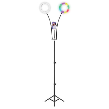PRO Live Stream Double 8-Inch LED Selfie RGB Ring Light with Tripod Stand