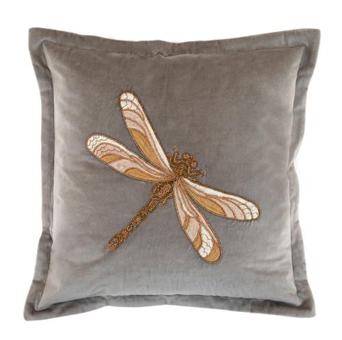 Aria Beaded Dragonfly Cushion Grey