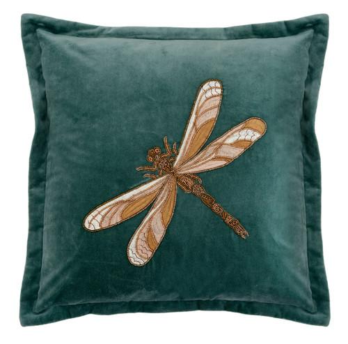 Aria Beaded Dragonfly Cushion Light Teal