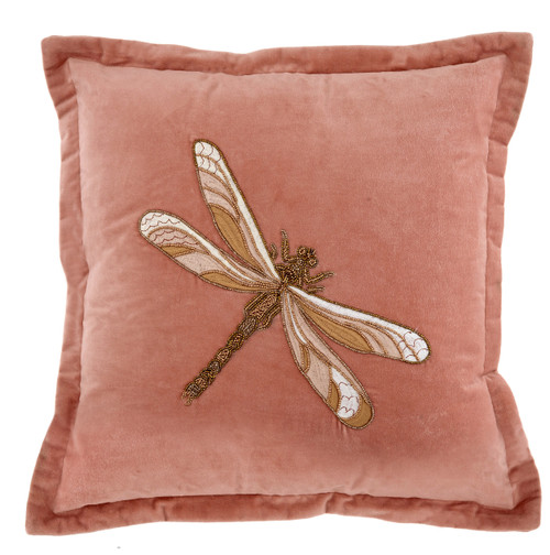 Aria Beaded Dragonfly Cushion Pink