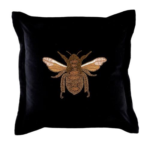 Layla Beaded Bee Cushion Black