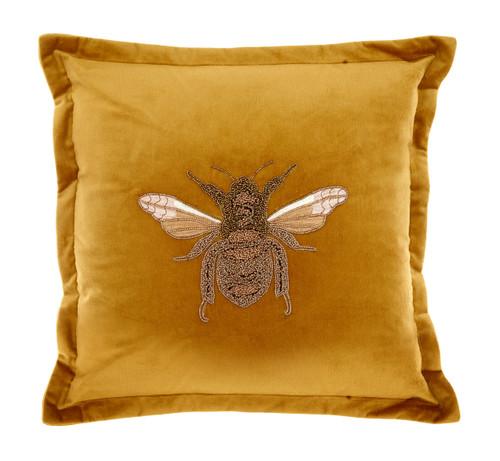 Beaded Bee Cushion Mustard Velvet