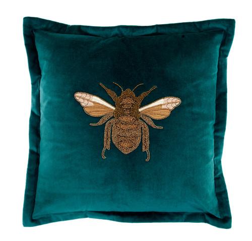 Beaded Bee Cushion Teal