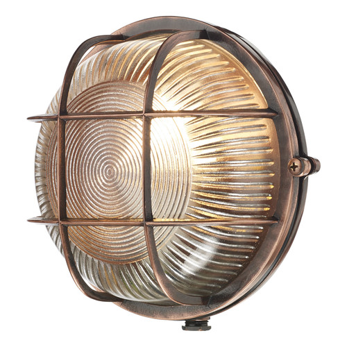 Admiral Round Wall Light Antique Copper IP64