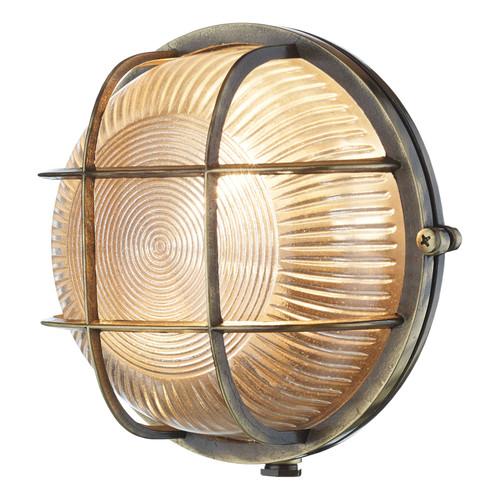 Admiral Round Wall Light Antique Brass IP64