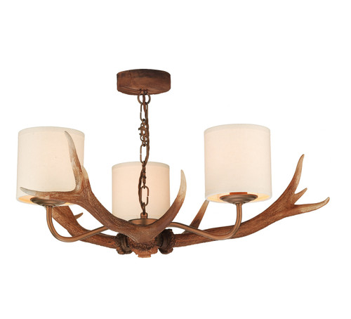Antler 3 Light Pendant Comes With Bespoke Silk Shades