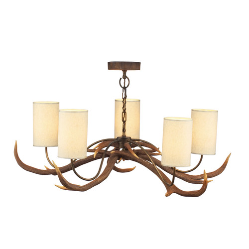 Antler 5 Light Rustic Pendant Comes With Bespoke Silk Shades