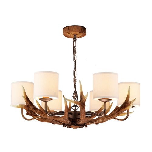 Antler 6 Light Rustic Pendant Comes With Bespoke Silk Shades