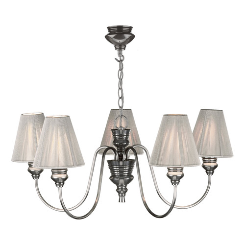 Doreen 5 Light Pendant Pewter Complete With String Shades