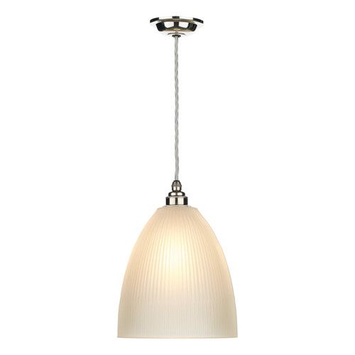 Duxford 1 Light Pendant Nickel Chrome Complete With Glass