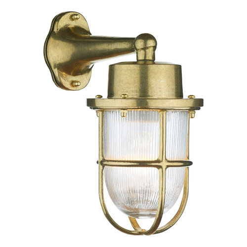 Harbour 1 Light Down Wall Light Brass IP64