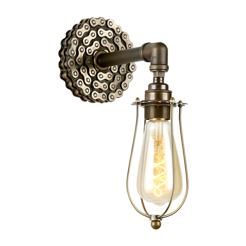 Loxley Single Wall Light In Bronze With Cage