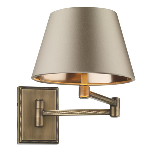 Pimlico Wall Light In Antique Brass With Swivel Arm