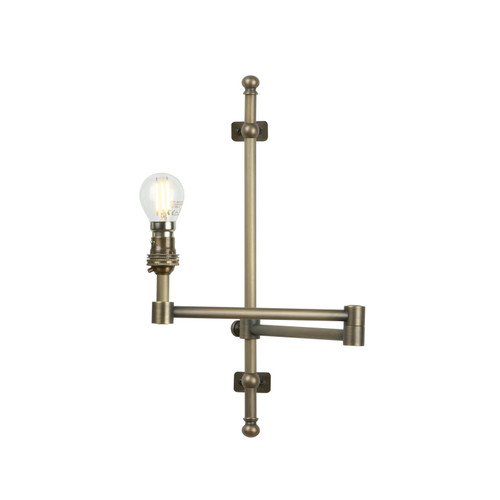 Squire Single Wall Light Swivel Arm Plugged Fitting In Antique Brass