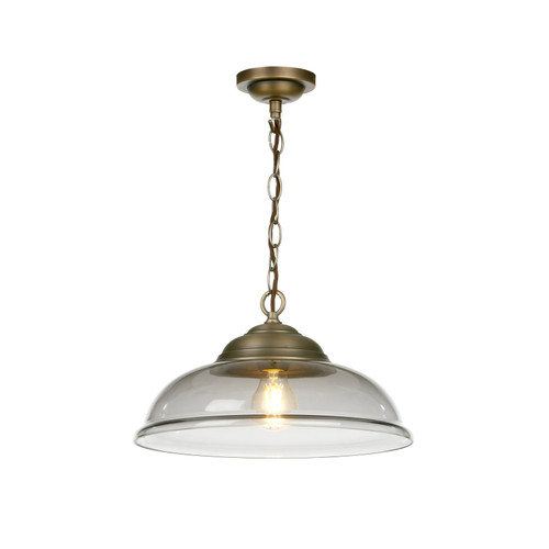 Webster 1 Light Pendant Smoked Glass With Antique Brass