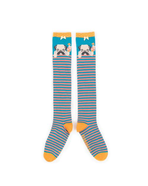 Cocktail Pug Knee High Socks