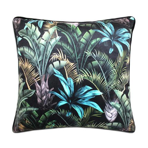 Wild Flora Cushion Black Green 45cm