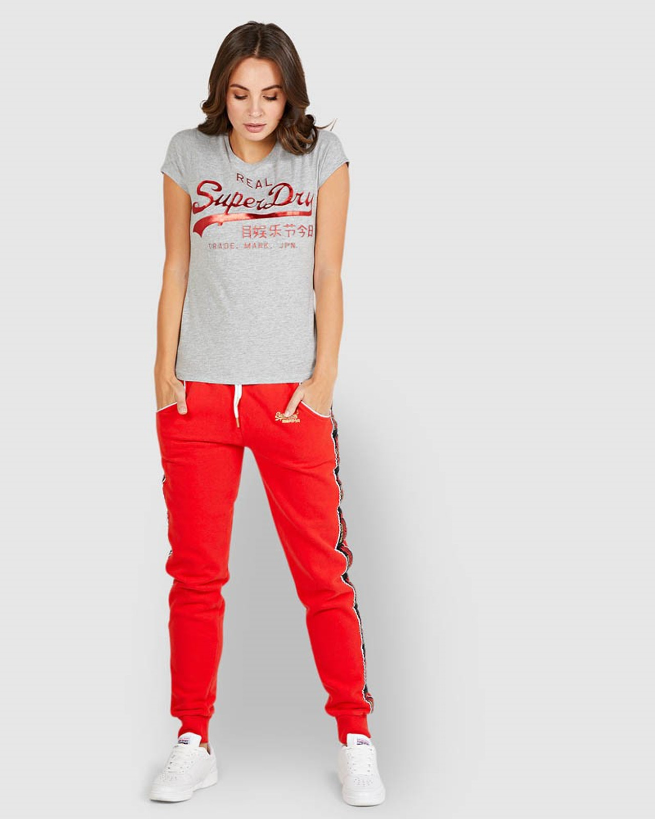 Superdry Womens CNY JOGGER Red Cuffed Joggers 1