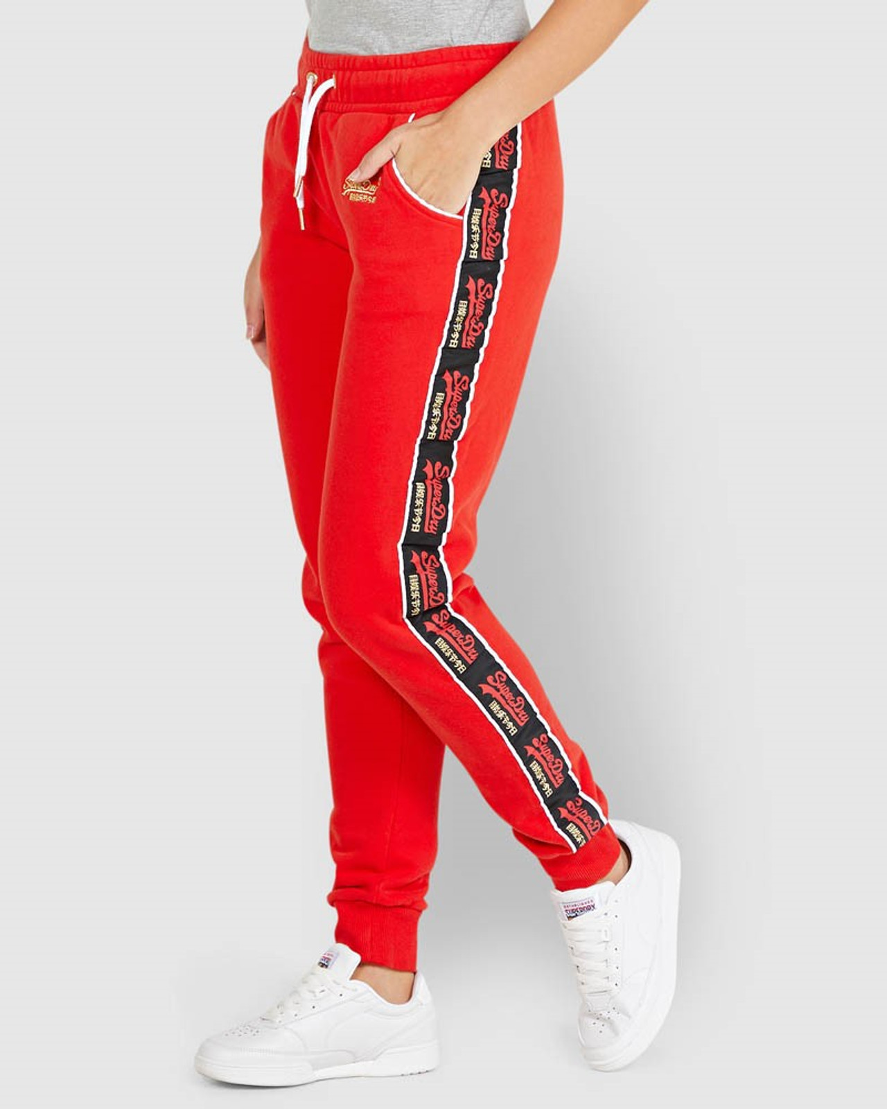 Superdry Womens CNY JOGGER Red Cuffed Joggers 2