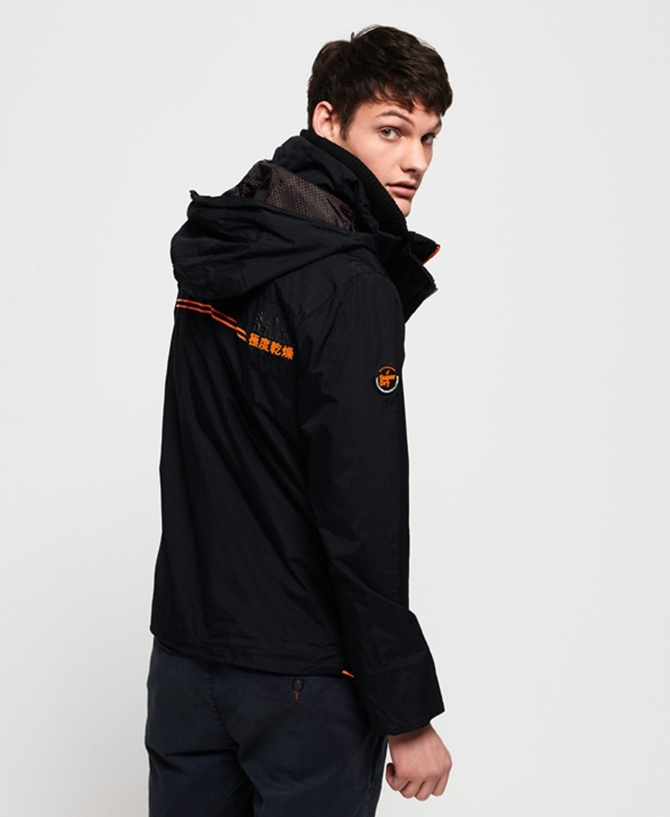 Superdry Mens Technical Hooded SD-Windattacker Jacket Black Windcheaters 3