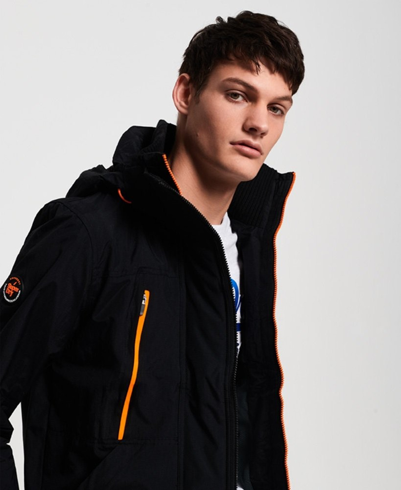 Superdry Mens Technical Hooded SD-Windattacker Jacket Black Windcheaters 4