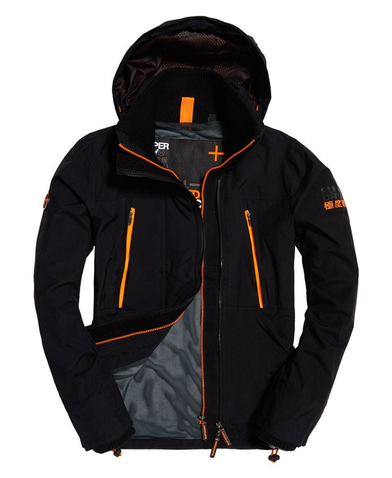 Superdry Mens Technical Hooded SD-Windattacker Jacket Black Windcheaters 0