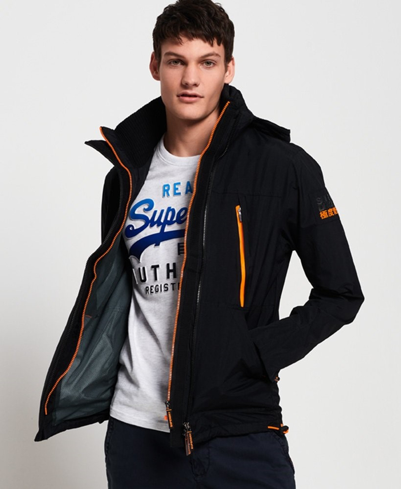 Superdry Mens Technical Hooded SD-Windattacker Jacket Black Windcheaters 1