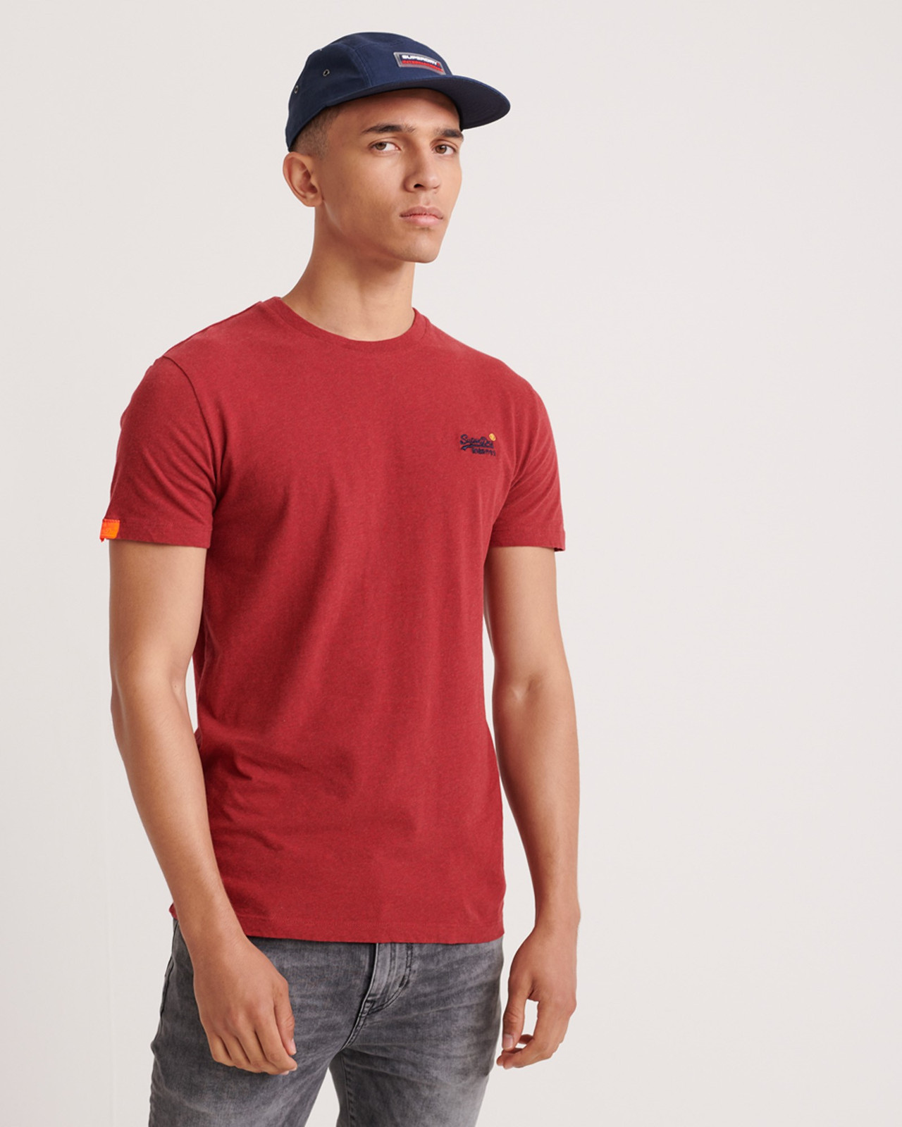 Superdry Mens Orange Label Vintage Embroidery Tee Red Plain T Shirts 0
