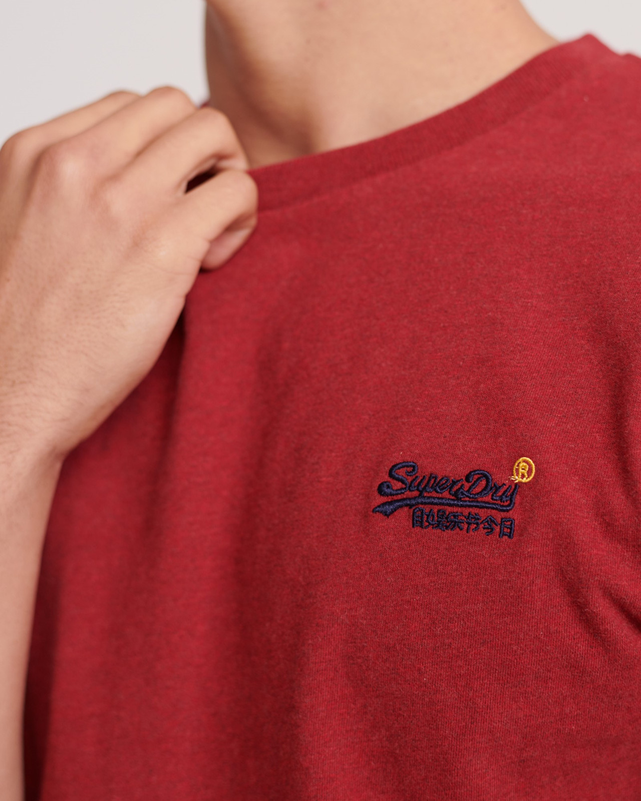 Superdry Mens Orange Label Vintage Embroidery Tee Red Plain T Shirts 4