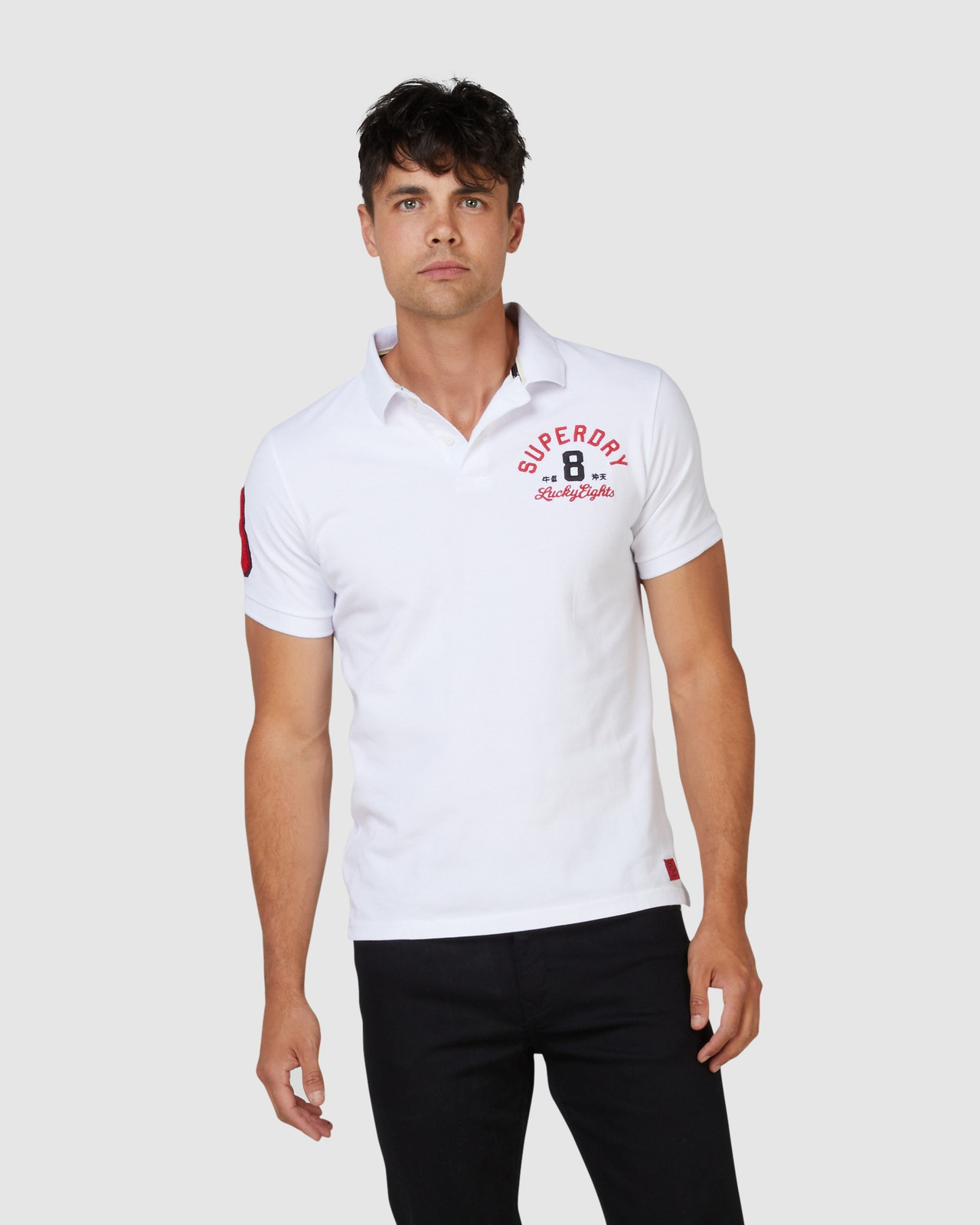 Superdry Mens CNY Superstate Short Sleeve Polo White Printed Polos 0