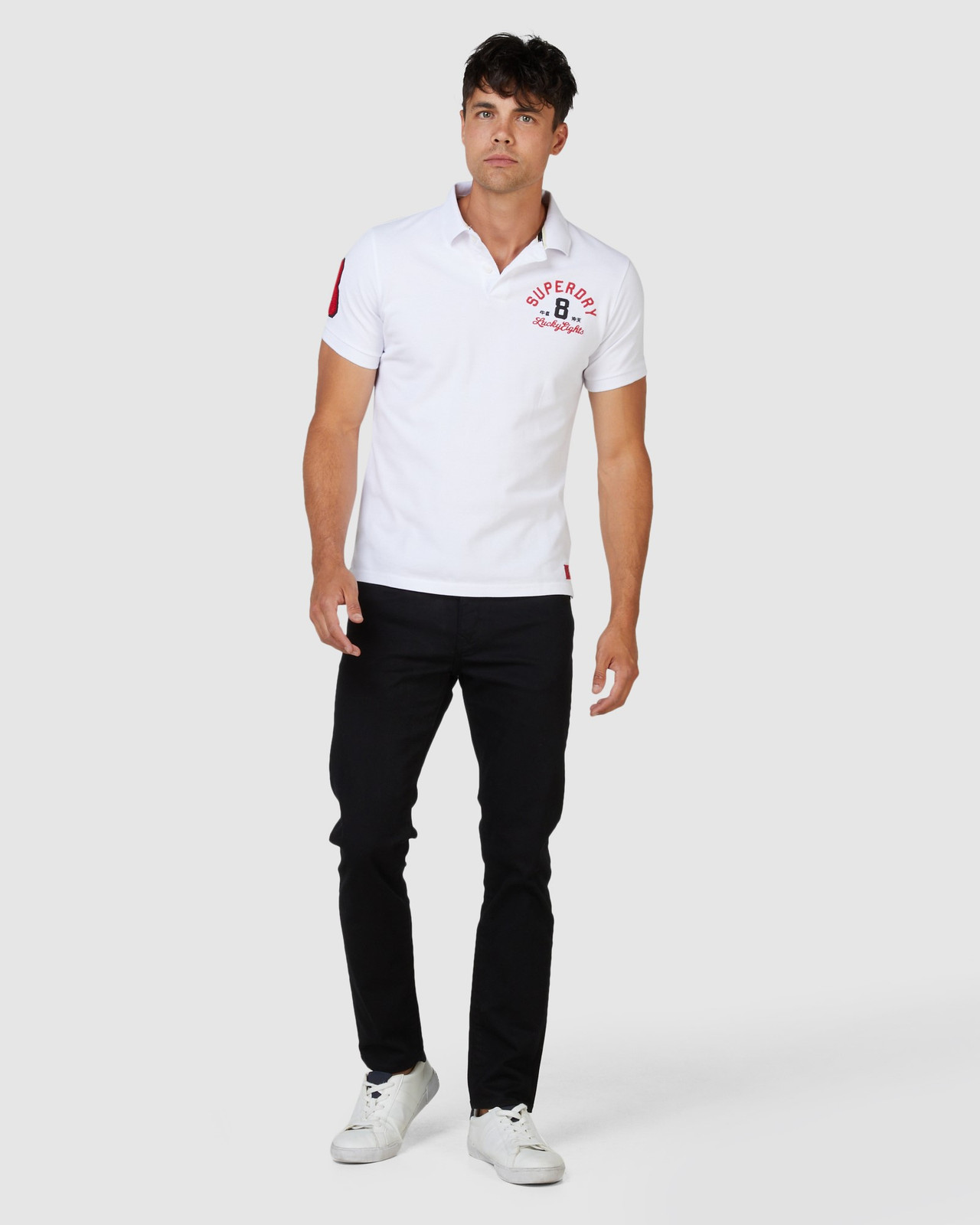 Superdry Mens CNY Superstate Short Sleeve Polo White Printed Polos 1