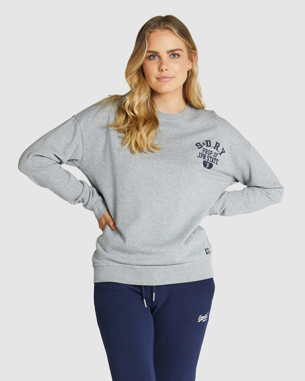 Superdry Womens SUPERSTATE SWEAT Grey Sweat Tops 1