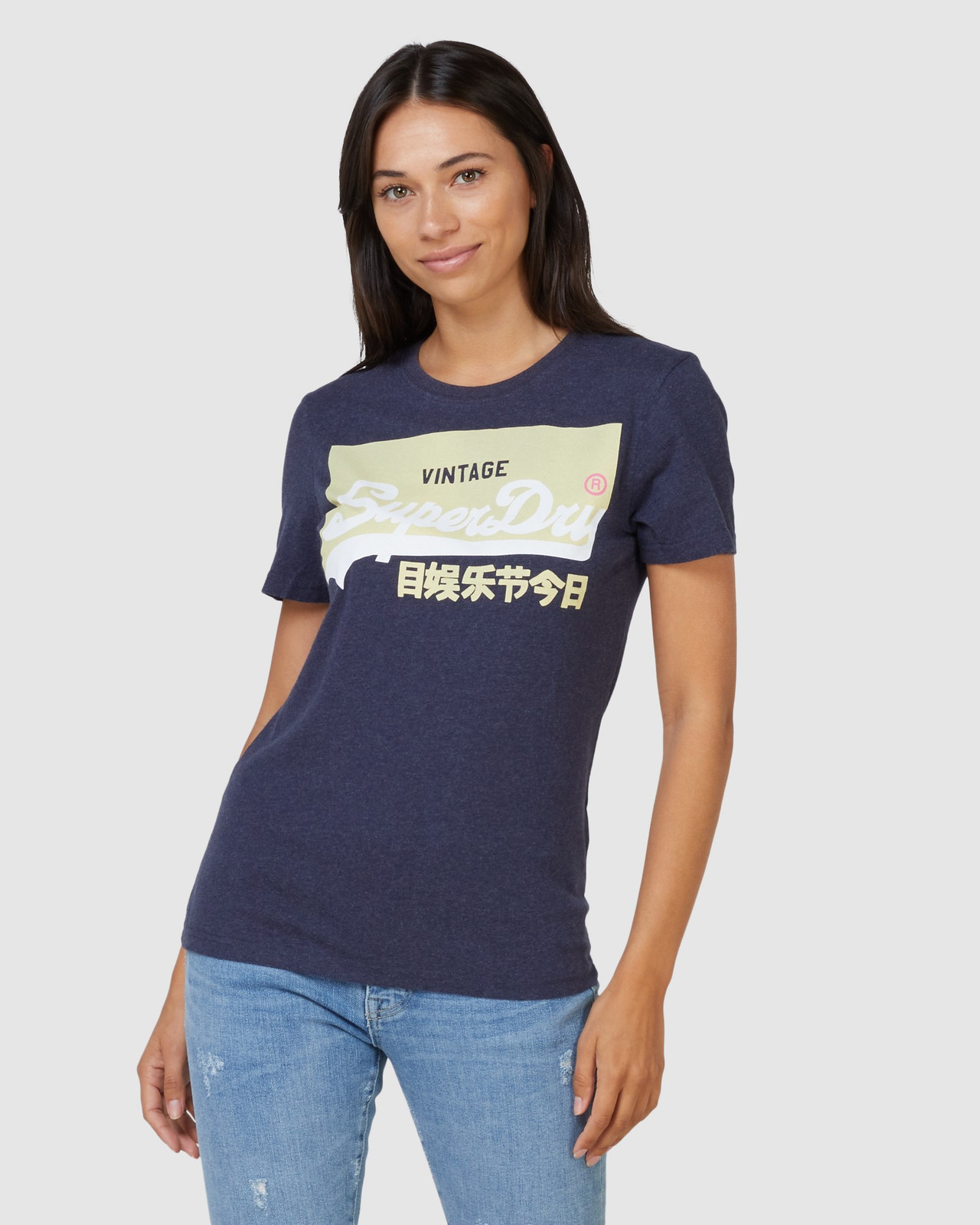 Superdry Womens Vintage Logo Pastel Tee Navy Printed T Shirts 0