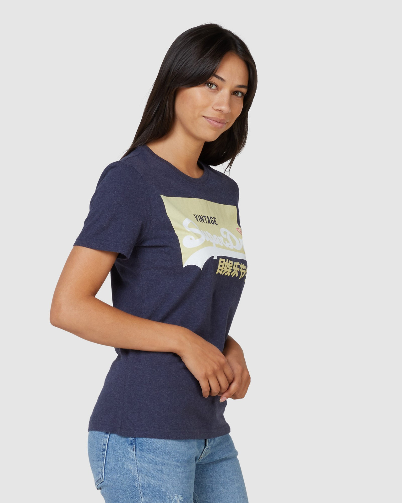 Superdry Womens Vintage Logo Pastel Tee Navy Printed T Shirts 1