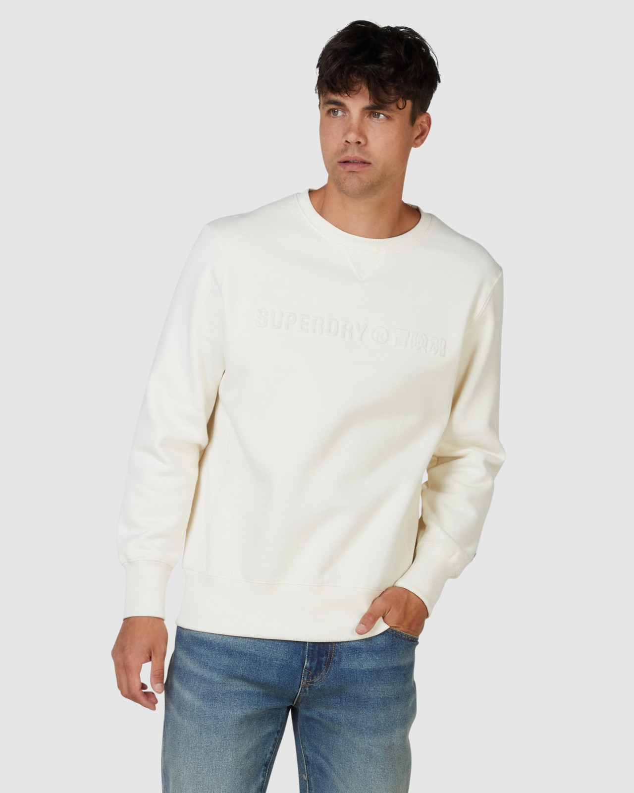 Superdry Mens SPORTSTYLE NRG EMBOSS CREW Neutrals Sweat Tops 0