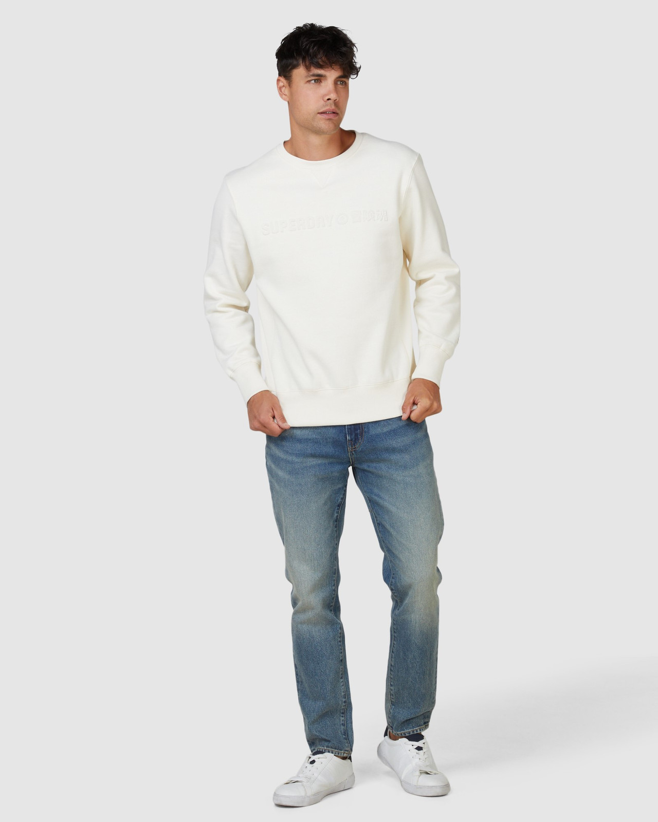 Superdry Mens SPORTSTYLE NRG EMBOSS CREW Neutrals Sweat Tops 1