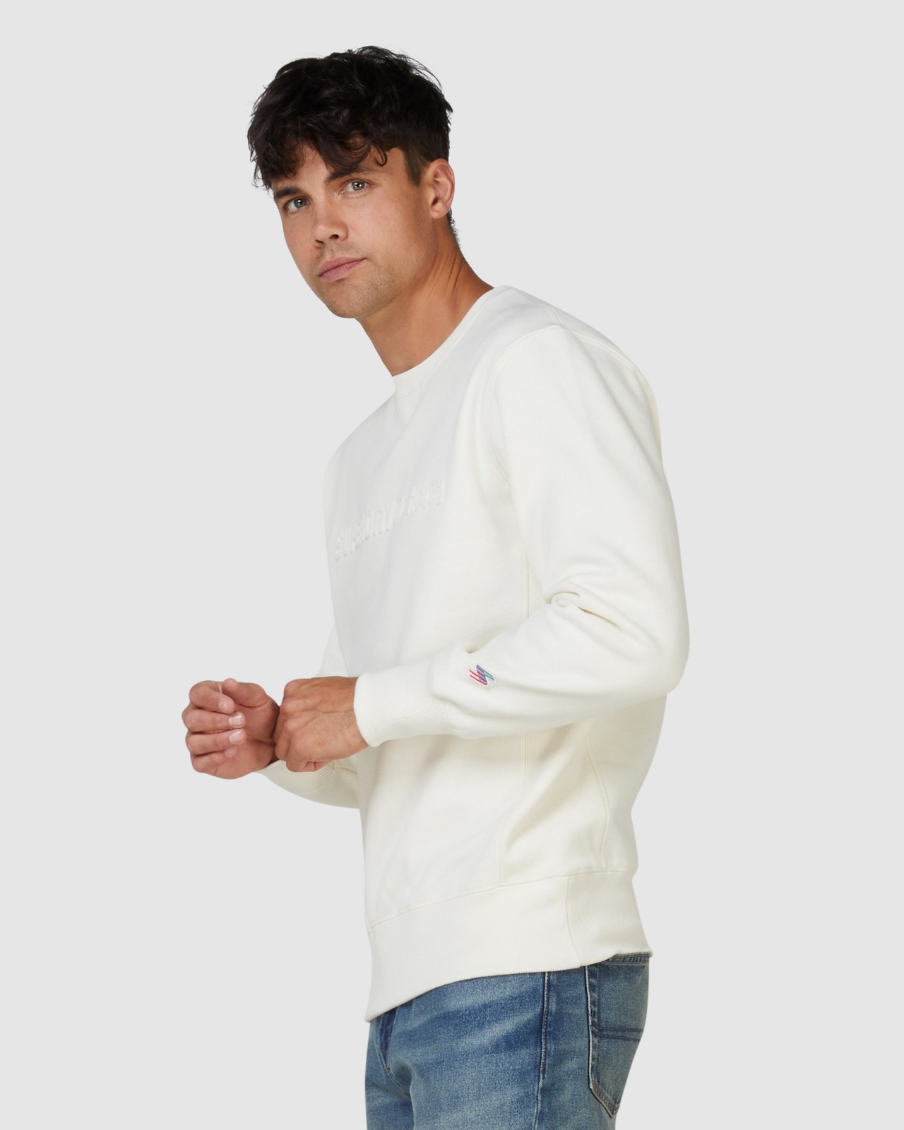 Superdry Mens SPORTSTYLE NRG EMBOSS CREW Neutrals Sweat Tops 2