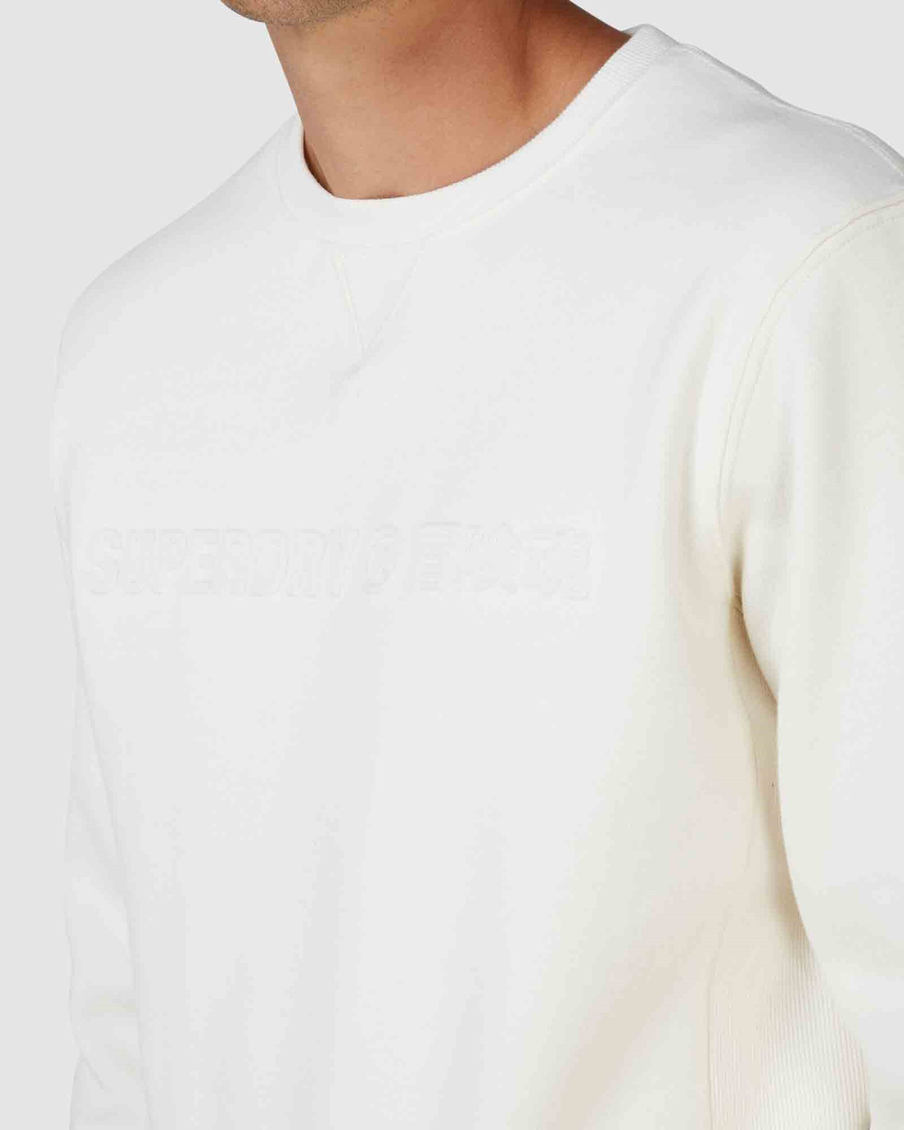Superdry Mens SPORTSTYLE NRG EMBOSS CREW Neutrals Sweat Tops 4