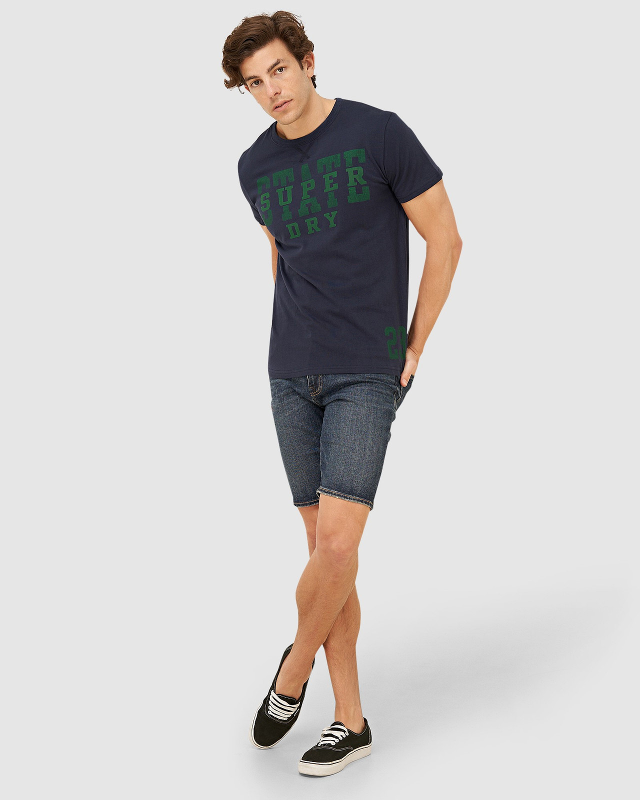 Superdry Mens T&F CLASSIC TEE Navy Printed T Shirts 1