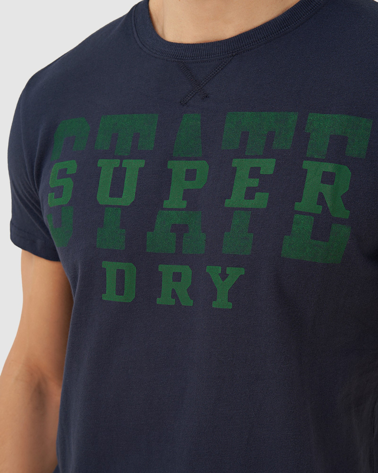Superdry Mens T&F CLASSIC TEE Navy Printed T Shirts 5
