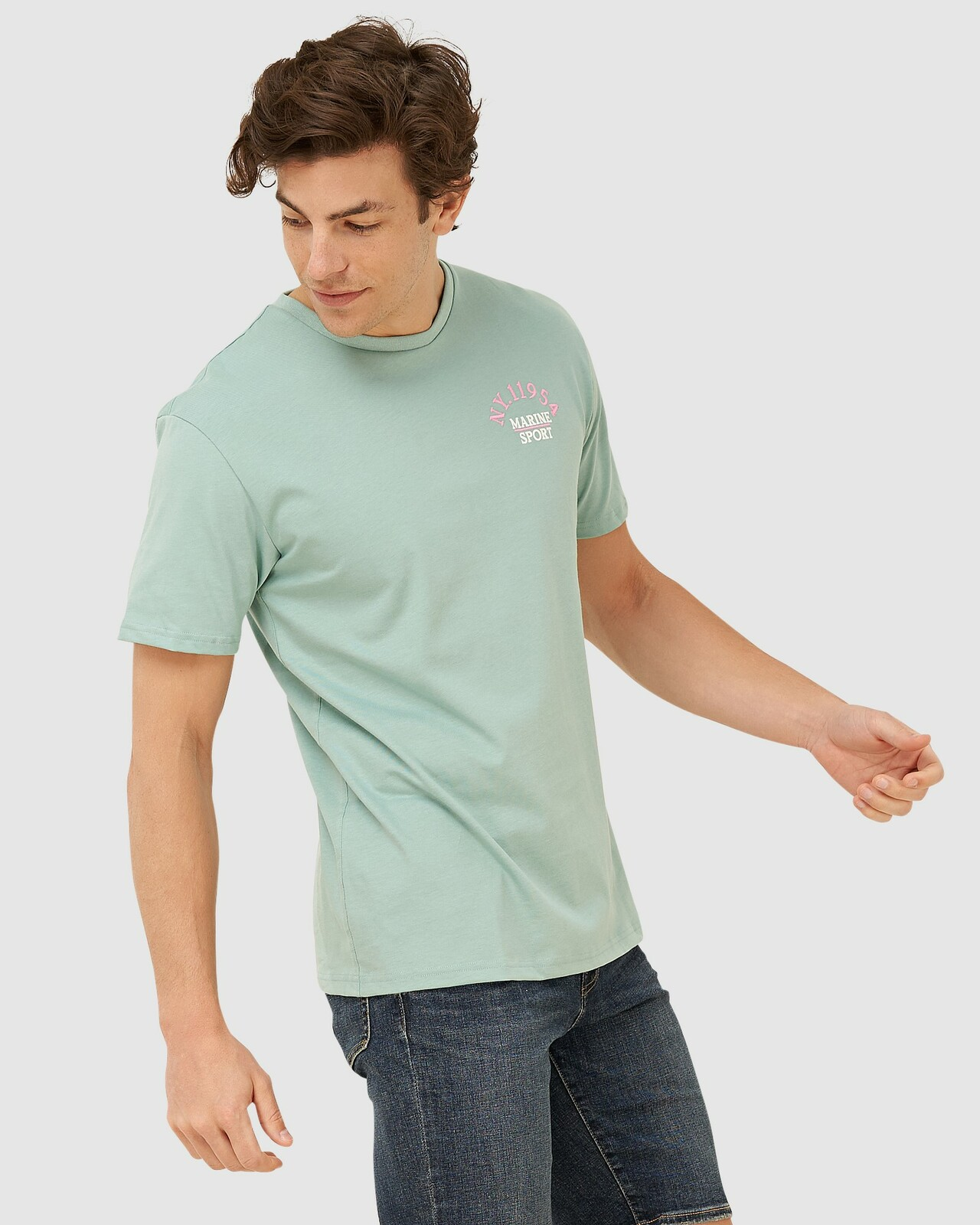 Superdry Mens YACHT PREP TEE Green Printed T Shirts 1