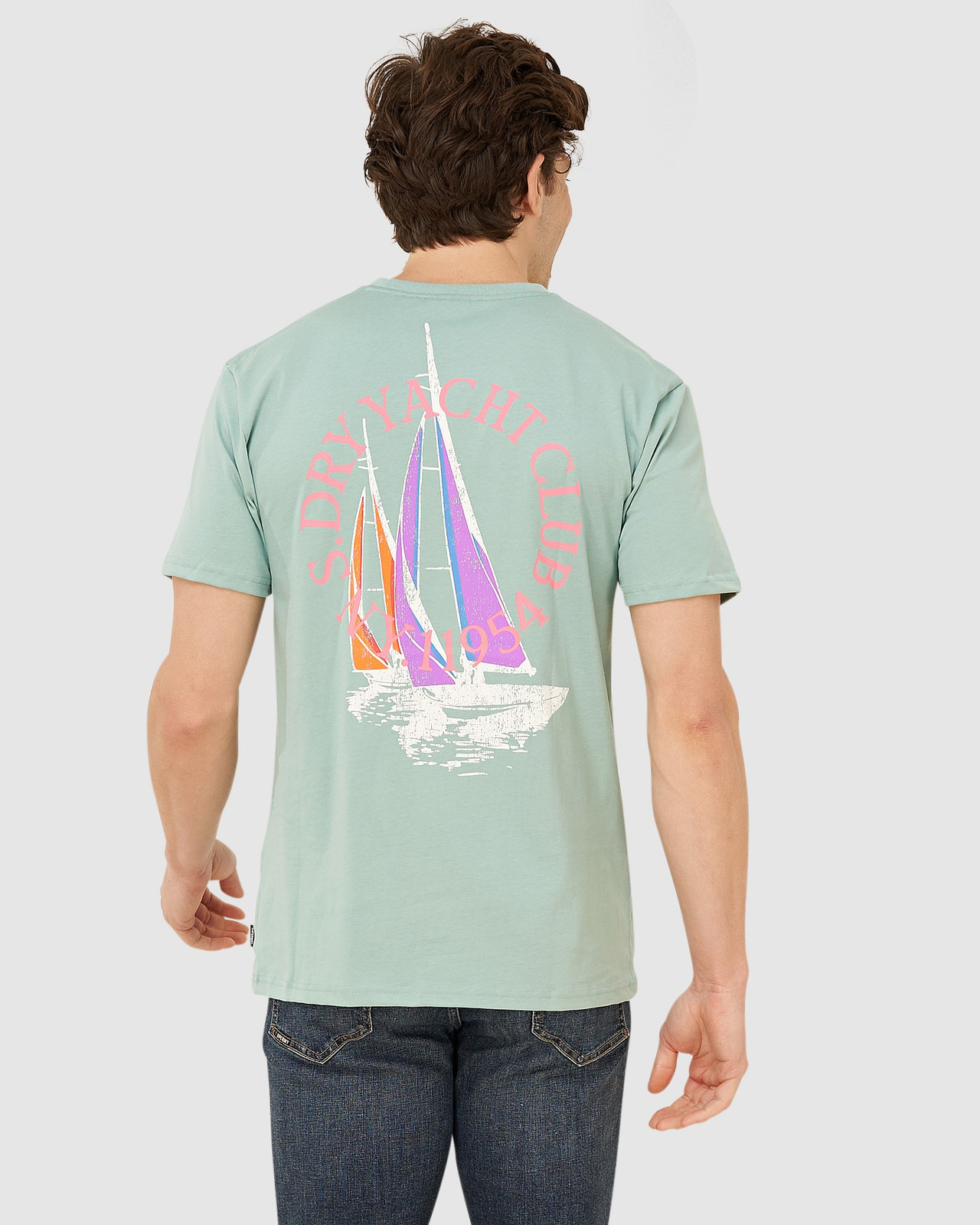 Superdry Mens YACHT PREP TEE Green Printed T Shirts 2