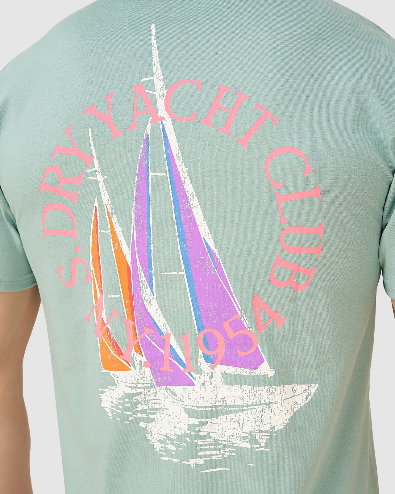 Superdry Mens YACHT PREP TEE Green Printed T Shirts 4