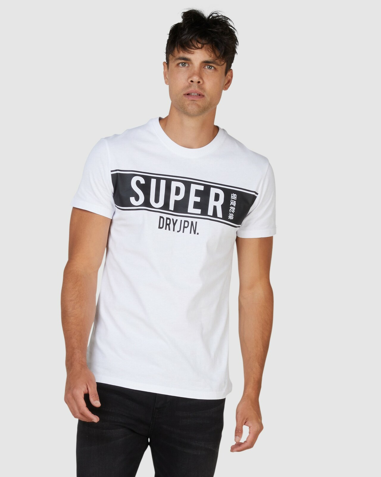 Superdry Mens SDRY PANEL TEE White Printed T Shirts 0