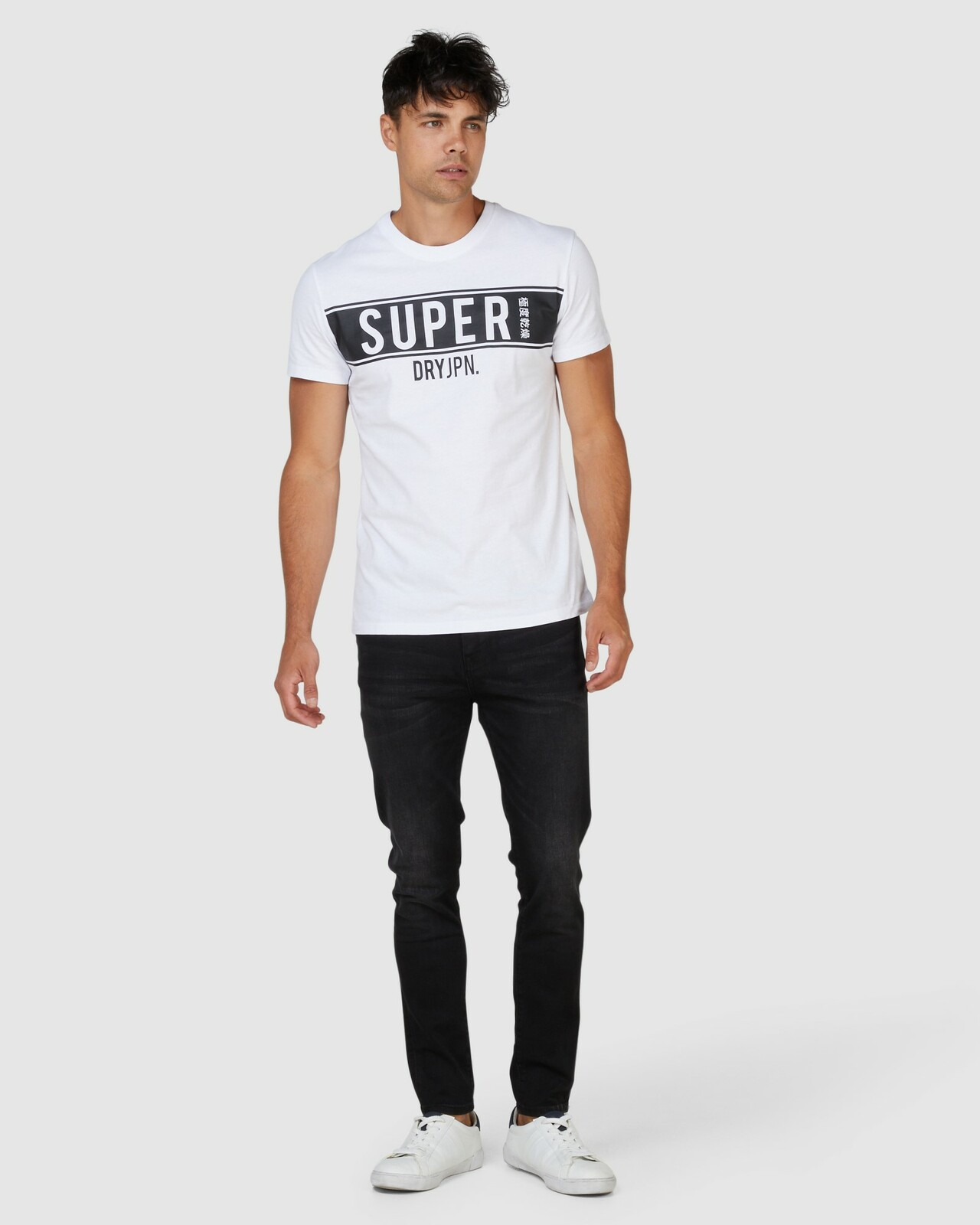 Superdry Mens SDRY PANEL TEE White Printed T Shirts 1