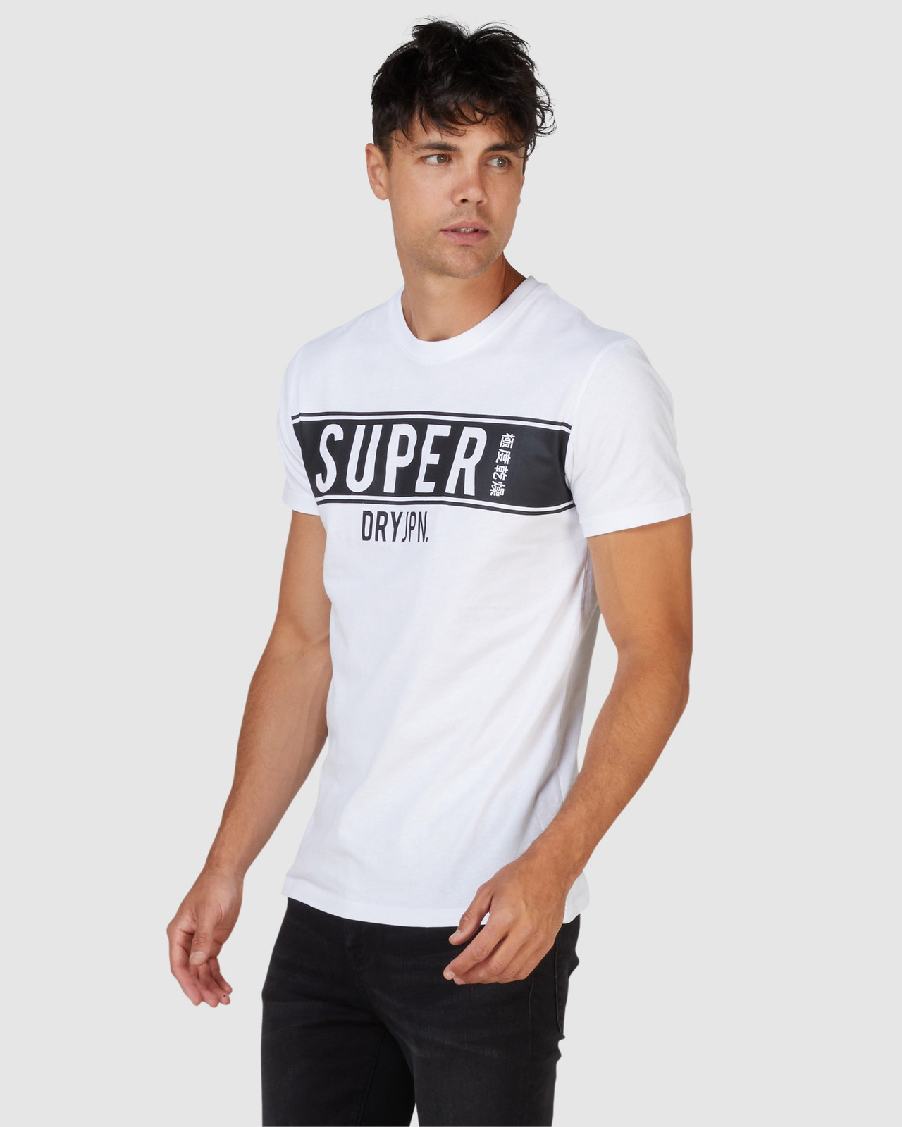 Superdry Mens SDRY PANEL TEE White Printed T Shirts 2