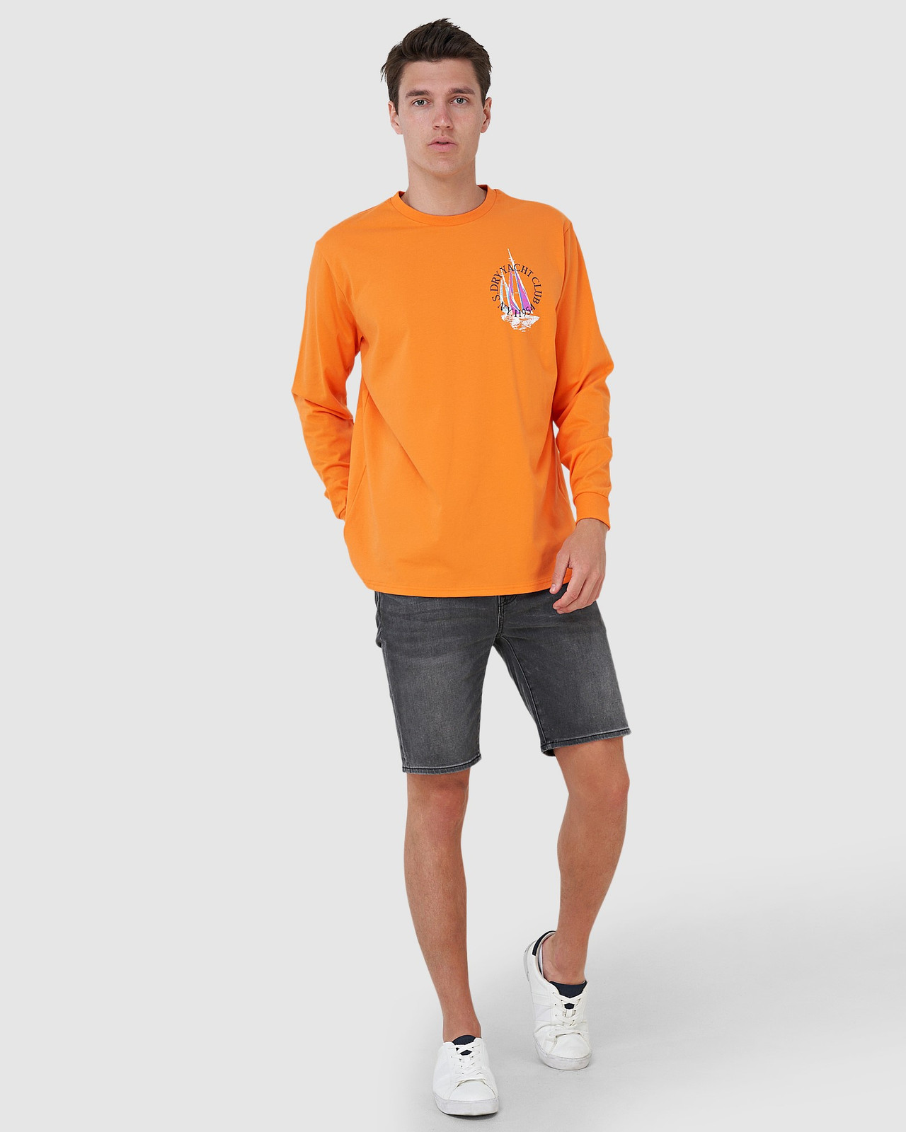 Superdry Mens YACHT PREP LS TOP Orange Long Sleeve T Shirts 1