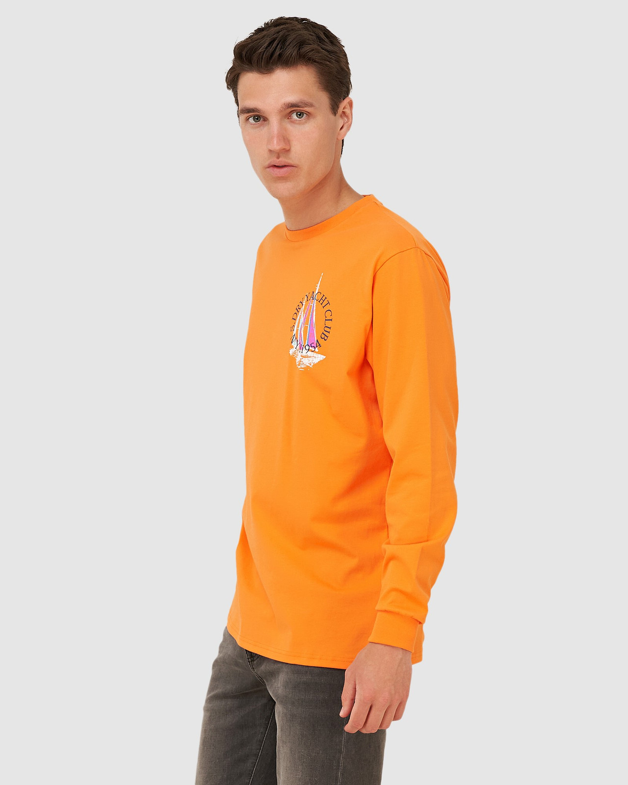 Superdry Mens YACHT PREP LS TOP Orange Long Sleeve T Shirts 2