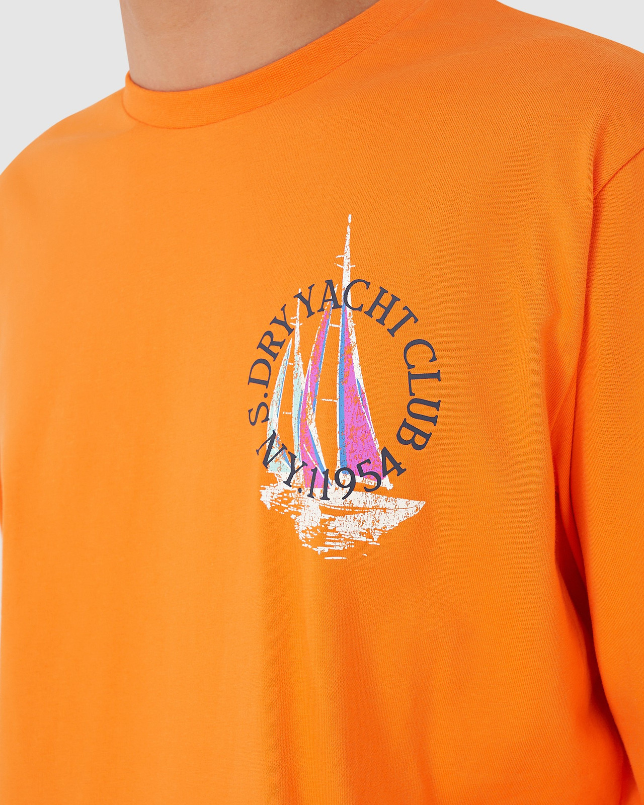 Superdry Mens YACHT PREP LS TOP Orange Long Sleeve T Shirts 4